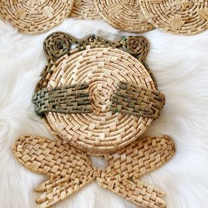 Vintage Raffia Straw Frog Trivet Kitchen Set